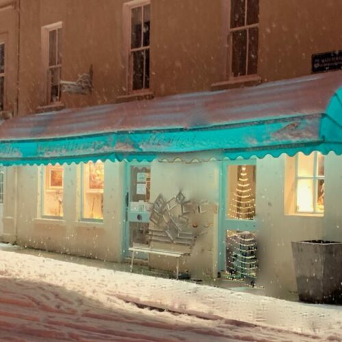 A Watercolor painting of The Whitethorn Gallery in Winter